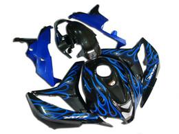 Kit de Carenagem de motocicleta para HONDA CBR600RR F5 07 08 CBR 600RR 2007 2008 cbr600rr ABS Chamas azuis preto Carenagens set + 7gifts HG08 de