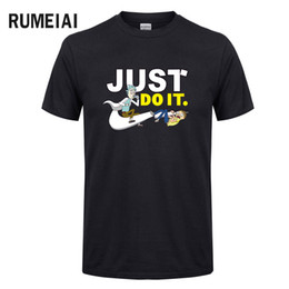 Wholesale men swag t shirt - 2018 Men's Rick and Morty Funny Anime T-shirt Casual Short sleeve O-Neck homme Summer Just do it T shirt Swag Tshirt