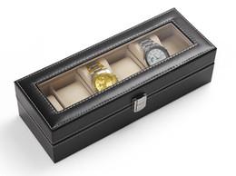 Wholesale Wood Jewelry Organizer Case - High Quality 6 Grid Black PU Leather Watch Display Box Wristwatch Storage Case Jewelry Storage Organizer