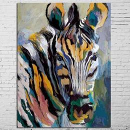 mão zebra lona de pintura a óleo Desconto Grande Colorido Zebra Pictures Home Decor Arte Da Parede Pintados À Mão Abstrata Pintura A Óleo Animais na Lona Handmade Pintura Dos Desenhos Animados