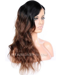 Wholesale Wig Chocolate - Premier Long Style Ombre chocolate brown Hair Celebrity Lace Wigs Wave Style Brazilian Human Hair Wigs