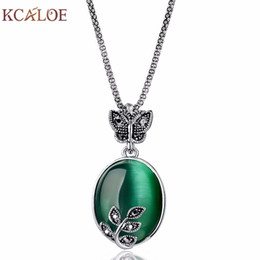 vintage opal necklaces Coupons - whole saleKCALOE 2017 New Arrival Big Vintage Silver Plated Fashion Leaf Pendant &Necklace Natural Stone Green Opal Necklaces for Women