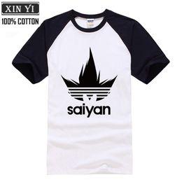 Marcas de camisetas japonesas online-Super Saiyan Japanese Anime Dragon Ball Z Marca Hombres camiseta 2018 Verano 100% algodón Raglan cuello redondo Camisetas Camisetas Hombre