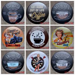 30X30CM / круглые тарелки античный ретро металлические жестяные знаки кофе эспрессо утюг живопись плакат старинные дома стены налет украшения от