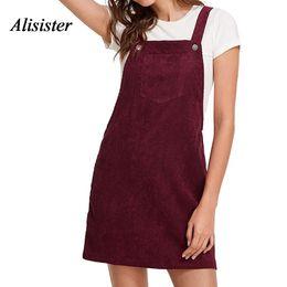 f411dc21ecd3 Autumn Women Corduroy Sundress Mini Solid Ladies Sleeveless Casual  Suspender Sarafan Dresses Female Overalls A Line Vestido