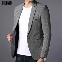 Куртки пальто платье корейский онлайн-2018 New Fashion  Blazer Jacket Men Single Button Slim Fit Suit Coat Korean Black Dress Jacket Party Casual Men Clothes