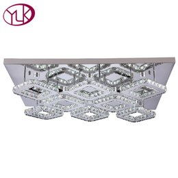 Wholesale Luxury Lighting Fixtures - Rectangle Modern LED Crystal Ceiling Lamp For Living Room Luxury Bedroom Dining Room Cristal Lustre 8 Lights Lighting Fixture