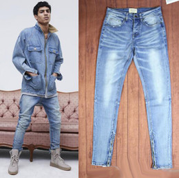 Wholesale kanye west jeans - Mens Jeans Fear Of God Ripped Jeans KANYE WEST Justin Bieber Famous Brand Designer Blue Rock Star Hip Hop Punk Denim Male Pants