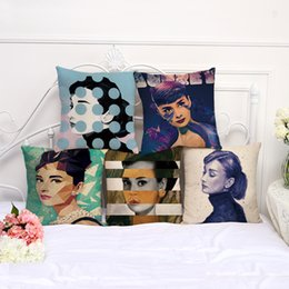 Süper Yıldız Audrey Hepburn Yastık Kılıfı Yastık kılıfı keten pamuk Atmak Kare Yastık Kapak Bırak Gemi cheap audrey hepburn cushion covers nereden audrey hepburn yastık kılıfları tedarikçiler