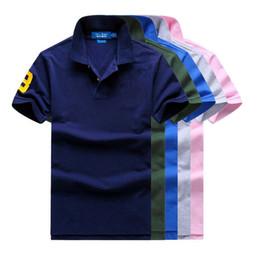 Американская большая лошадь логотип классические мужские короткие рукава Поло-рубашка отворотом футболка высокого класса Жемчужина земли 100% хлопок чистый цвет от