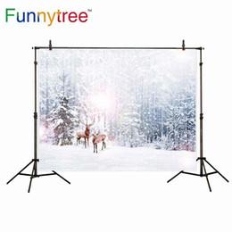 Fotoğraf stüdyosu orman kış kar ren geyiği için Funnytree arka plan doğa halo bokeh backdrop photobooth photocall prop nereden yaprak yağlı boya tedarikçiler