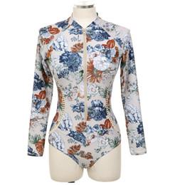 Wholesale Bodysuit Swimwear - 2018 Sexy Long Sleeve One Piece Jumpsuit Swimsuit Women Zipper Swimwear Summer Bathing Suit Slimming Monokini Bodysuit Beach M-XL