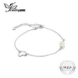 Wholesale 9mm Sterling Silver Chain - JewelryPalace Fashion 925 Sterling Silver 7-9mm Freshwater Cultured Pearl Heart Foot Chain Anklet 2016 Fine Jewelry For Women