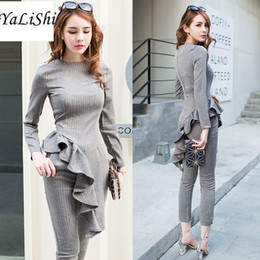 suit work wear for women Promo Codes - 2 Pieces Set 2017 Autumn Casual Office Gray Suits For Women Long Sleeve Ruffles Tops and Nine Pants Suit Vestidos Work Wear Sets