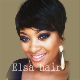 бразильские волосы rihanna Скидка Короткие парики для афроамериканских женщин Рианна короткие пикси человеческих волос парики бразильский короткие кружева фронт человеческих волос парики для черных женщин