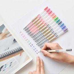 Färbung gel-stifte online-Kunststoff 12 Farben / Los Transparent Peeling Gelschreiber 0,5 Mm Farbe Ink Pen Neutral Stift Filzstift Für Schüler Bürobedarf Muji Stil