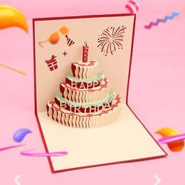Tarjetas de felicitación tridimensionales online-Originalidad tridimensional de papel de cumpleaños del color de la torta ahueca hacia fuera las tarjetas de felicitación bendición del festival tarjeta de regalo de negocios 3qm gg