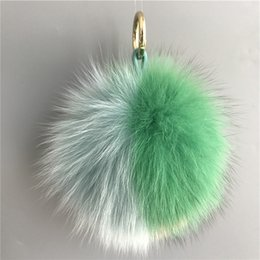"Wholesale Green Fox Fur - Green Blue Pink-6""Real Genuine fox Fur Pom Pom Ball Bag charm Car Keychain Pendant holiday gift"