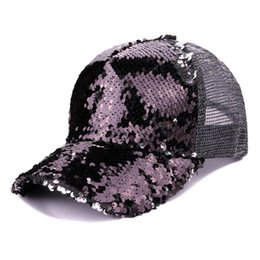 2018 hot item lentejuelas gorra de béisbol mujeres niñas ajustable Shinning Mesh sol sombrero cola de caballo snapback caps 6 COLOR desde fabricantes