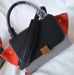 Wholesale Best Leather Handbags For Women - 21CM 26CM Best Quality Big Brand Two-tone Totes 2018 New Arrival Handbags Cowhide Genuine Leather Shoulder bags For women Lady Free Shipping