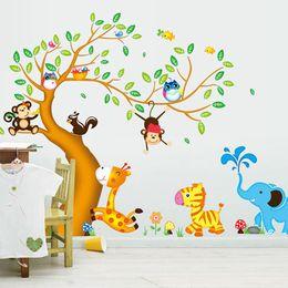 Fondos de pantalla de casas online-Monkey Owl Animals Tree Vinilo de dibujos animados pegatinas de pared para habitaciones de niños decoración del hogar DIY papel pintado del niño calcomanías de arte decoración de la casa