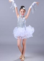 Rote pailletten-tanzkleid-hülse online-Mädchen lila blau weiß und rot Latin Chacha zeitgenössische Pailletten Quasten tanzen Kleid Tanz Kostüme mit Ärmeln für Performance-Show