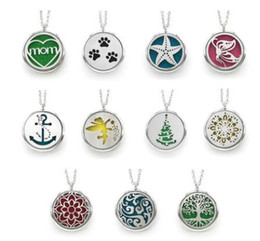 Wholesale 316 stainless steel jewelry wholesale - 30 styles Sale Silver Jewelry Magnet Aromatherapy Essential Oil 316 Stainless Steel Perfume Diffuser Locket Necklace with chain