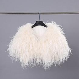 xale elegante do cabo da pele Desconto 2018 nova moda natural de luxo pele de avestruz xale de pele longa para as mulheres capas de festa senhoras negras elegante peru wraps pashnima