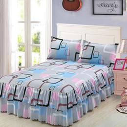 camisa multi camo Rebajas Clásico Conjunto de ropa de cama Falda de doble capa Estampado de flores Camisas de cama Ropa de cama 3 unids / set Pastoral Sábana textil para el hogar Funda de almohada