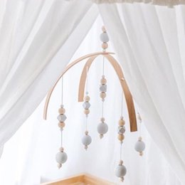 Wholesale Baby Crib Toys Mobile - Kids Hanging Toys Baby Rattles Mobile Toys Wooden Wind Chime Bell Wood Hanging for Crib Tent Ornament Room Decoration Nordic