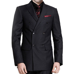 double sided wear jacket Coupons - Black Plaid Cloth Wedding Groomsmen Tuxedos 2018 Groom Wear Three Piece Jacket Pants Vest Double Breasted Business Party Men Suits