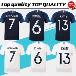 2019 camisas uniformes brancas 2 stars 2018 copa do mundo # 10 MBAPPE home camisa de futebol # 7 GRIEZMANN # 6 POGBA longe camisa de futebol branco 2018 copa do mundo # 13 KANTE uniforme de futebol camisas uniformes brancas barato
