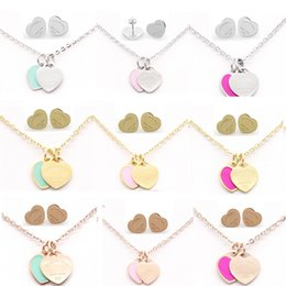 brand gold necklaces Promo Codes - Brand Classic Stainless Steel Earrings Necklace Jewelry Set Love Heart English Letters Necklace For Women Lady with Logo