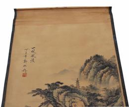 2019 vecchio paesaggio Retro Calligrafia Pittura Zheng Banqiao Cinese Figura Vecchia Collezione Scorrere Paesaggio Dipinti Arti Mestieri Festa di Compleanno Regali 22gw bb vecchio paesaggio economici