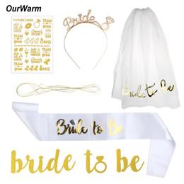Wholesale bridesmaid bachelorette party - Ourwarm Wedding Party Decoration 5pcs  Set Garter Veil Hen Night Party Bride To Be Bachelorette Bridesmaids Photobooth Supplies