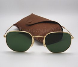 Wholesale Mens Personality - High Quality Mens Womens Fashion Hexagonal Metal Sunglasses Irregular Personality Sun Glasses Gold Green 51mm Glass Lens with brown box