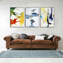 Wholesale Wall Paint Fish - Modern Home Decor Canvas Painting Abstract Hand Painted Oil Painting 3 Piece Decorative Fish Wall Pictures For Living Room Art