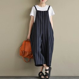 b23511c21730 Plus Size 2018 Women Autumn Striped Pockets Sleeveless Dungarees Cotton  Linen Big Pants Jumpsuit Baggy Rompers OL Work Overalls