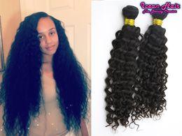 Wholesale Seamless Weft Extensions - Peruvian Indian Malaysian Brazilian Virgin Hair Weave Bundles Deep Curly Human Hair Extensions No Tangle Seamless Free Shipping