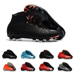 Wholesale high ankle boots for men - Hypervenom Phantom III FG Soccer Shoes Mens High Ankle FG Soccer Cleats Neymar IC Football Boots Cleats Men Football Shoes Cheap For Sale