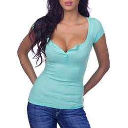 Canada Femmes sexy t-shirt manches courtes col V profond avec bouton coton été top vêtements de base cheap deep neck t shirts women Offre