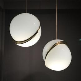 Wholesale Art Glass Pendant Lights - Art Decor Designer Pendant Light Glass Ball Hanging Light Fixtures Creative Modern Round Pendant Lamp For Home Bar Decor