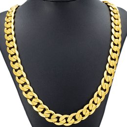Wholesale Real Gold Plated - Cuban Real Gold Chain For Men Heavy Charming Fine Jewelry Wholesale Choker Hiphop Rope Necklace 18K Copper Hot Sale Limited Free Shipping