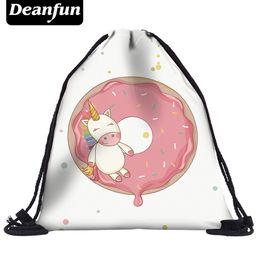 Wholesale Donuts Bag - Deanfun Unicorn Drawstring Bags 3D Printed Donuts Pattern Women Schoolbags for Travel kawaii 50452