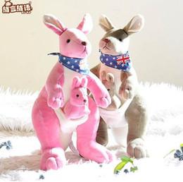 Wholesale kangaroo plush - RYRY 12.6 Inch Soft Plush Toys Australia Kangaroo Carrying A Baby Stuffed Plush Animals Kangaroo Mother&Son Collection Kids Toys
