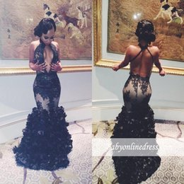 Wholesale Blue Halter Tulle Dress - 2018 New Sexy Black Keyhole Neck Mermaid Prom Dresses Sexy Backless Prom 2K17 Tulle Appliques 3D Flowers Floor Length Party Evening Dresses