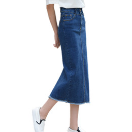 Wholesale Jupe Denim - 5XL High Waist Pockets Straight Denim Long Skirt Casual Summer Vintage Jupe Femme High Quality Plus Size Denim Skirts TT2412