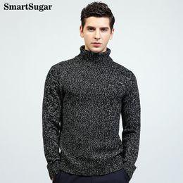 Wholesale Plain Turtleneck - SMARTSUGAR 2017 New Style Mens High Neck Casual Sweater Long Sleeve Basic Plain Turtleneck Autumn Winter Keep Warm Solid Color