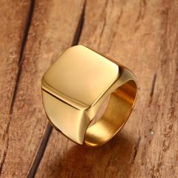 Goldton edelstahl ringe online-Männer Club Pinky Signet Ring personalisierte verzierten Edelstahl Band klassische Anillos Gold Tone männlichen Schmuck Masculino Bijoux