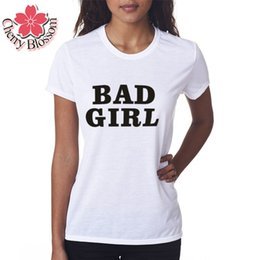 Wholesale Cherry T Shirt - Cherry Blossom Summer Style Women's T Shirt Women Tops Slim Fit BAD GIRL Printed Clothing Short Sleeve T-shirt Female T Shirts